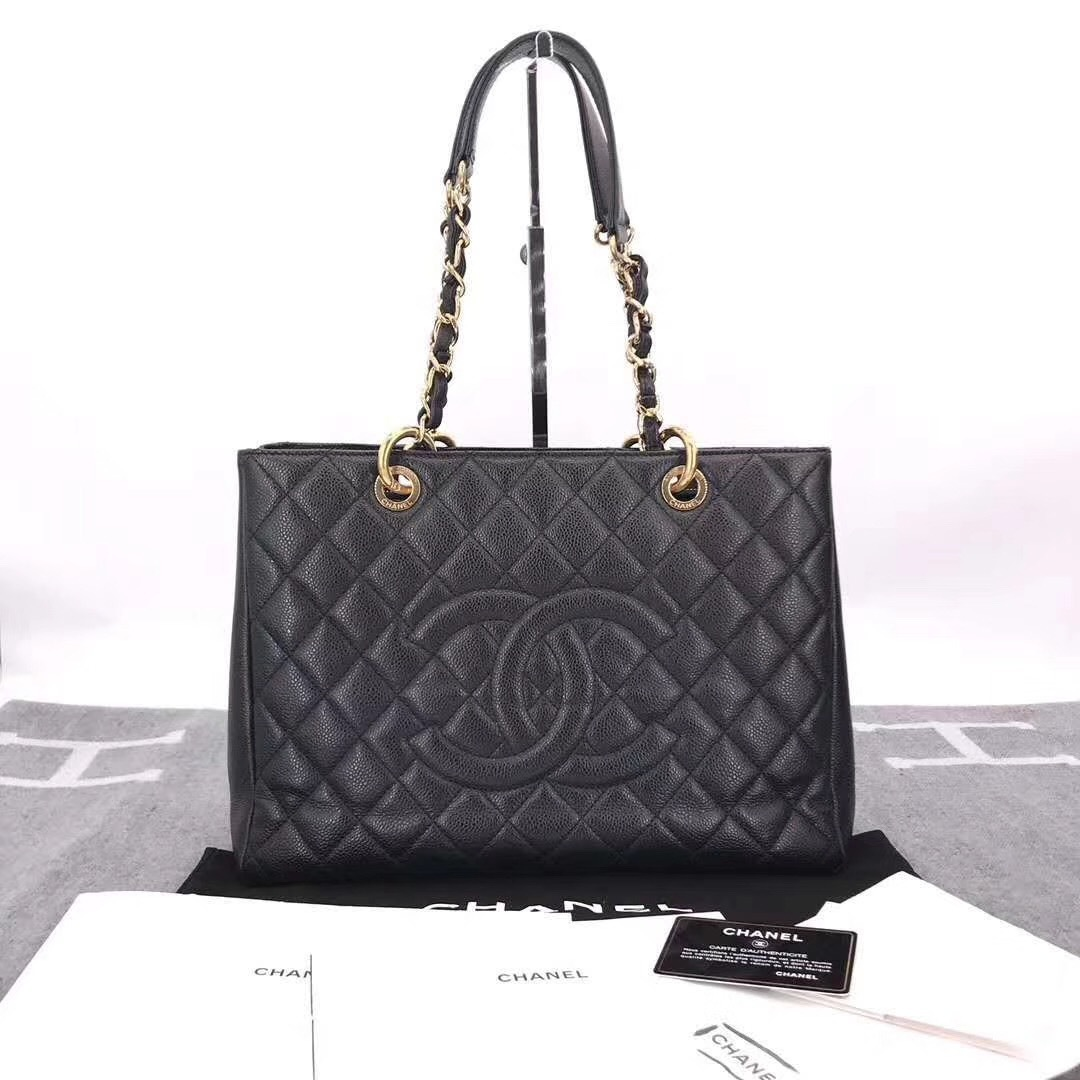 BRAND NEW AUTH CHANEL QUILTED CAVIAR GST GRAND SHOPPING TOTE BAG