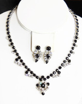 Vtg black & clear ice rhinestone choker necklace screw back earrings jew... - $32.62