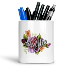Personalised Any Text Name Ceramic Floral Pencil Pot Gift Idea Kids Adul... - $12.89