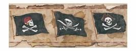 Pirate Pirates Flag Skull & Crossbones on Light Brown Wallpaper Border B... - $15.81