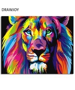 Colorful Abstract Lion Framed Picture Painting & Calligraphy DIY Paintin... - $5.99+