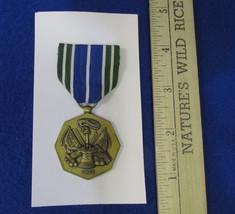 Vintage US Army Military Achievement Medal On Blue Green & White Stripe Ribbon - $12.22