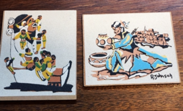 "Vintage Sand Paintings Set of Two   Signed  R. Johnson....measure 5.5"" x... - $7.20"