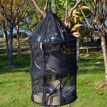 Portable Camping Dry Net Folding 3 Layer Hanging Mesh Foods Dish Outdoor... - €15,25 EUR