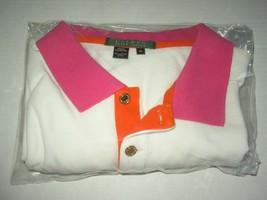 Ralph Lauren Polo Shirt S/S Women XL Cotton White Pink Orange w Logo -Ne... - $24.75
