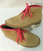 Land's End Suede Desert Boots Girls 1 M Tan w/ Pink Trim - $23.22