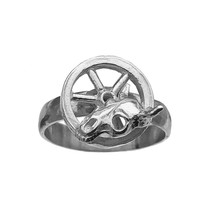 Wagon Wheel Bull Skull Ring Cowboy Sterling Silver 925 Western Jewelry W... - $34.08