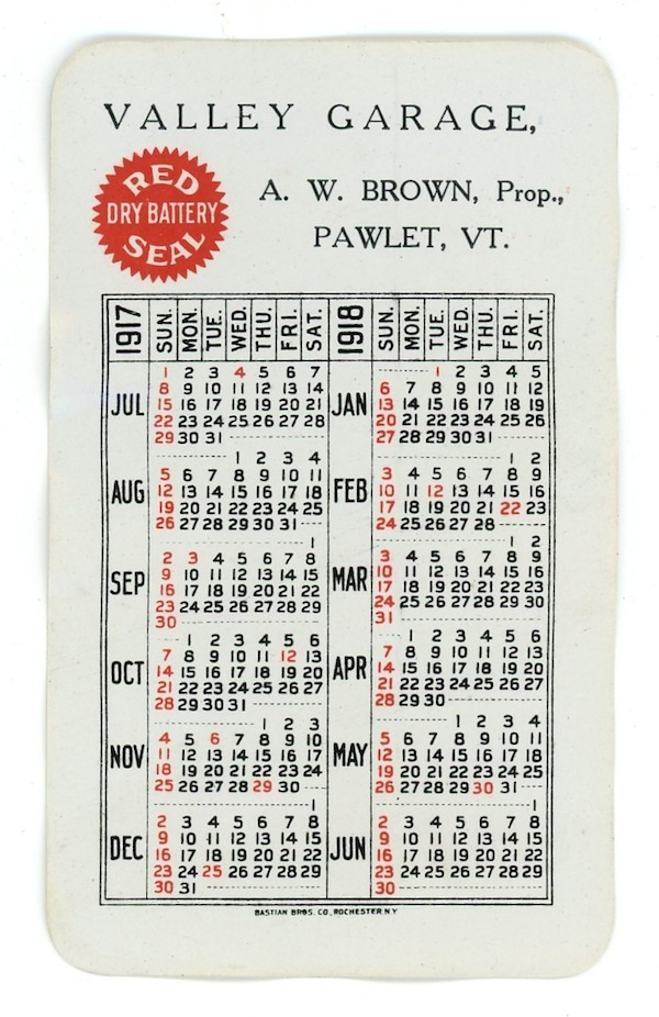 Red Seal auto vintage advertising pocket calendar 1917 Brown Pawlet Vermont