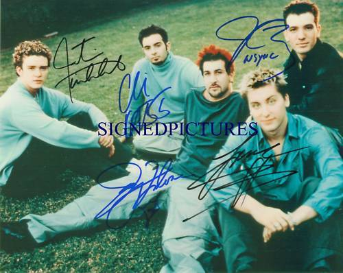 N'SYNC GROUP SIGNED AUTOGRAPH 8x10 RP PHOTO NSYNC TIMBERLAKE FATONE BASS JC +