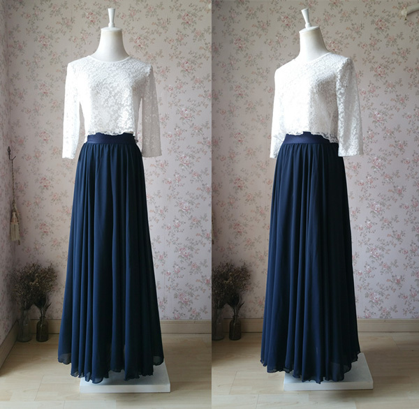 Plus Size Navy Chiffon Skirt High Waist Flowy Navy Wedding Chiffon Skirt
