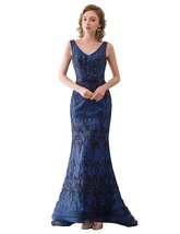 Women's Long Mermaid Evening Dress V-Neck Embroidery Sequins Formal Prom Gown - $108.99