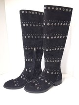 Sam Edelman Chandler Suede Leather Black Boots Studded Tall High Riding Size 6 - $96.52