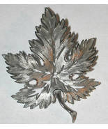 Silver tone Leaf Pin Brooch Vintage not signed - $10.00