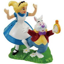 Disney Alice In Wonderland w/ White Rabbit Ceramic Salt & Pepper Shakers... - $29.02