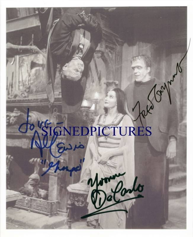 THE MUNSTERS CAST AUTOGRAPHED 8X10 RP PHOTO ALL 3 FRED GWYNNE DECARLO LEWIS