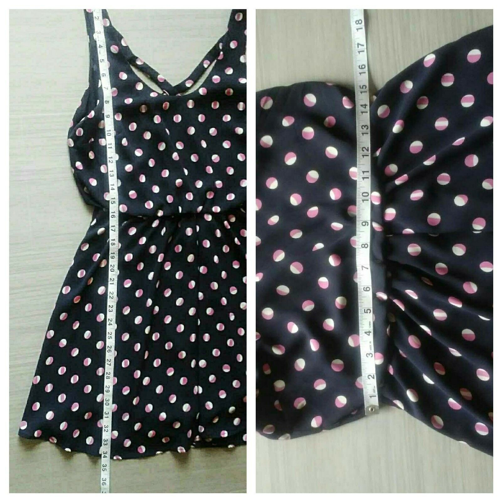 Lush Women's Navy with Pink & White Polka Dots Dress Size M Lined Sleeveless