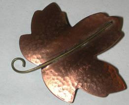 Copper Leaf Pin vintage marked/signed HMK CDS - $12.00