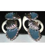 Enamel blue white silver-tone Clip on Earrings Vintage - $8.25