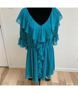 Pearl Georgina Chapman by Marchesa Women's Dress Size 12 Teal Ruffle - $29.69