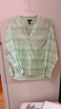 Gap Green and White Blouse Long Sleeve - $34.65