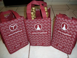 3 Wine Bag Totes Grocery Shopping Reusable Carriers Eco Friendly Cloth Bags - $7.91