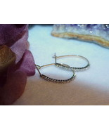 10K 20 Diamond Hoop Earrings YellowGold Natural Genuine Vintage Post Oblong - $188.09