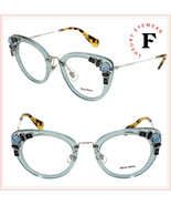 MIU MIU RUNWAY JEWEL 05P Azure Silver Cat Eye Glasses Optical Frame MU05... - $244.53