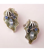 Glittering Vintage CORO Rhinestone Earrings Leaf  - $26.95