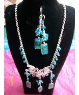 Blue Alpaca Silver Necklace Set w Earrings (R-3 )  - $19.95
