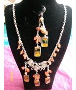 Lt. Orange Alpaca Necklace Set w Earring ( R-6 ) - $19.95