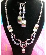 Pale Blue Alpaca  Necklace  w Earrings (R-5) - $19.95