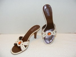 FRANCO SARTO WHITE & BROWN SOPHIA SLIDE LEATHER SANDALS SHOES SIZE 10M G... - $24.99