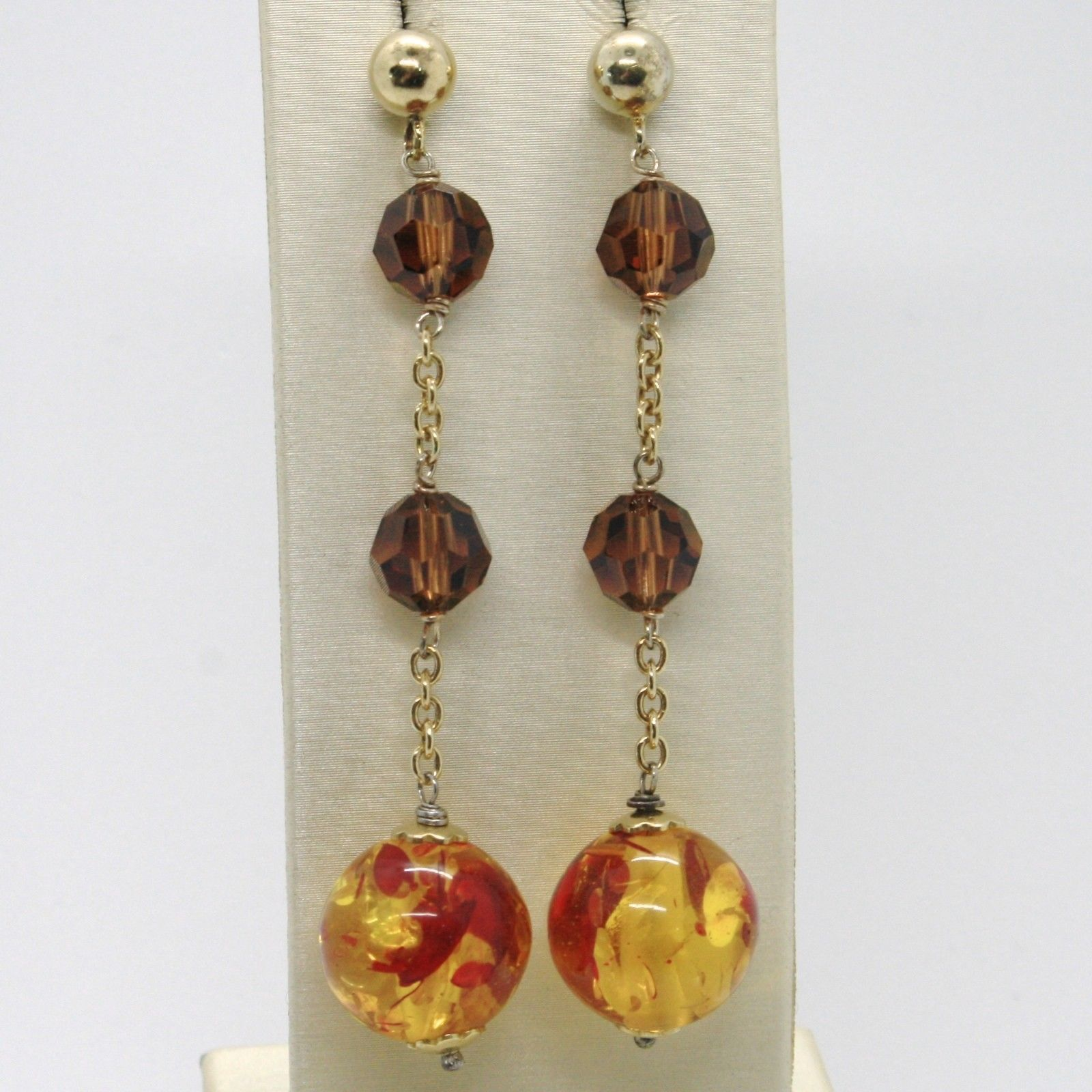 EARRINGS SILVER 925 LAMINATED GOLD WITH AMBER SYNTHETIC AND CRYSTALS STRASS