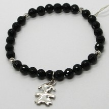 925 STERLING SILVER BRACELET WITH FACETED BLACK ONYX BALL & BABY GIRL PENDANT image 1