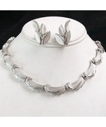 Vintage TRIFARI Choker Necklace  Earrings  Brushed Silverton - $43.95