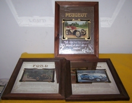 3 Car Dealership Mirrored Pictures Rolls Peugeot Ford M T
