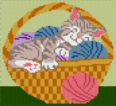Latch Hook Rug Pattern Chart: CAT in BASKET - EMAIL2u - $5.75