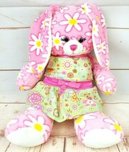"Build-A-Bear Pink White Daisies Bunny Plush 16"" Green Sun Dress Floppy Ears - $23.70"