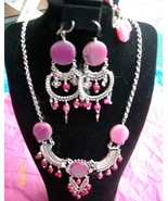 Coral , 3 Pc Alpaca Necklace and Earring  w Bracelet  ( H-1) - $22.50