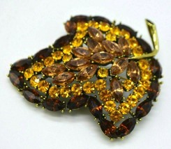 Large Brown Orange Rhinestone Leaf Gold Tone High Quality Pin Brooch Vintage - $59.39