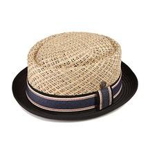 Dasmarca Mens Straw Summer Pork Pie Hat - Jake Natural Crown with Black M - $89.44