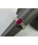Womens Vintage Estate 14k White Gold Garnet & Diamond Ring 4.9g E4002 - $643.50