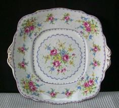 PETIT POINT Royal Albert TAB HANDLED CAKE PLATE TRAY Bone China England - $12.36