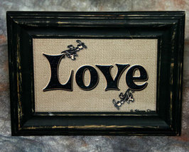 Love Sign in Distressed Shabby Black Frame 4x6 - $7.95