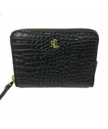 Ralph Lauren Small Zip Around Croc Embossed Boxed Leather Wallet - Black... - $54.44