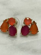 kate spade Pink and Coral Fragment Cluster Stud Earrings Candy Gold Tone Post - $28.05