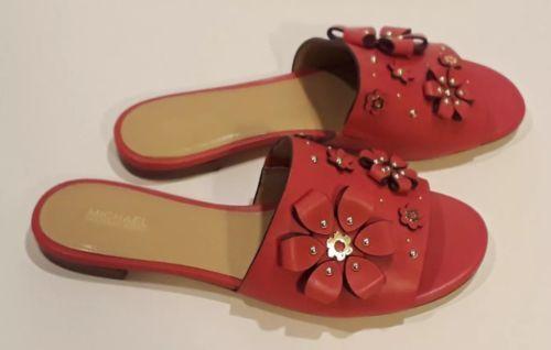 99f5a9dc05b Michael Kors Tara Floral Embellished Leather Slide Size US 8   EURO 38
