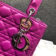 AUTH Christian Dior Lady Dior Medium Fuchsia Pink Cannage Lambskin Tote Bag SHW image 5