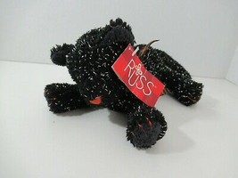 Russ Boo Twilight Plush Halloween black silver cat orange nose plaid bow... - $12.86