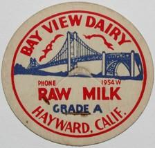 Vintage milk bottle cap BAY VIEW DAIRY Raw Milk bridge pic Hayward Calif... - $9.99